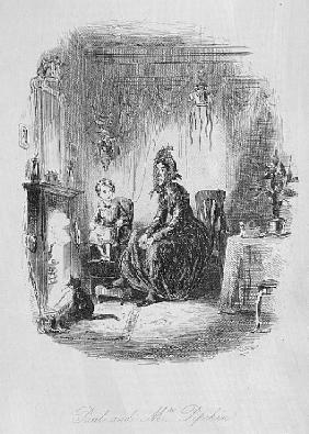 Paul and Mrs. Pipchin, illustration from ''Dombey and Son'' Charles Dickens (1812-70) first publishe