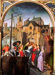 Ursula shrine, lengthways side, left field: The arrival of St. Ursula in Cologne
