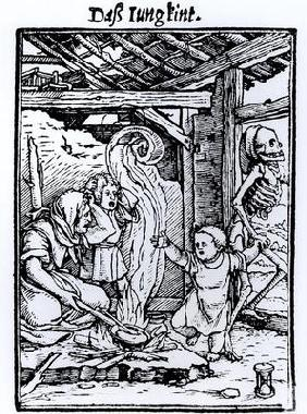 Death Taking a Child, from the 'Dance of Death' series, engraved by Hans Lutzelburger, c.1526-8 (woo