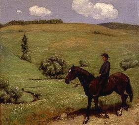 Rider in a wide landscape.