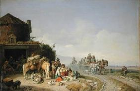 Travellers Before a Roadside Inn