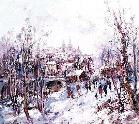 Winter Scene in a French Cathedral Town