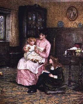 Mother playing with children in an interior