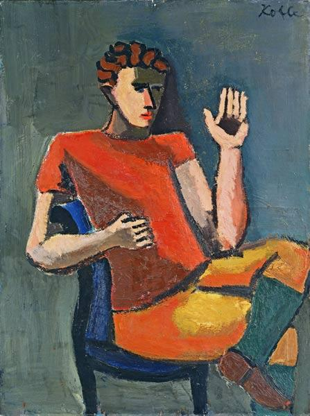 Seated Man with a Raised Hand