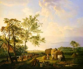 van Sande Backhuyzen, Hendrick : Landscape with hay harvest...