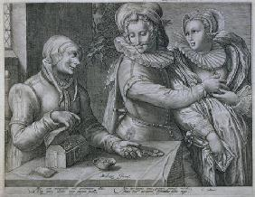 A Young Man Choosing Love of Beauty rather than Riches, engraved by Jacob Matham (1571-1631) (engrav