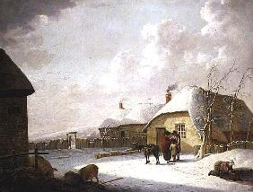 Figures Outside a Cottage in the Snow