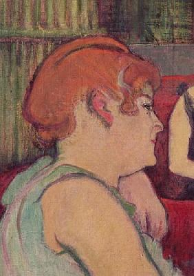 In the Salon at the Rue des Moulins, detail of one of the women, 1894 (charcoal and oil)