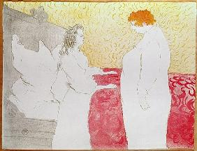 Woman in Bed, Profile - Waking Up, 1896 (crayon, brush and spatter lithograph, printed in four colou
