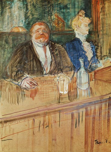 in the bar the fat proprietor and the a henri de toulouse lautrec as art print or hand. Black Bedroom Furniture Sets. Home Design Ideas