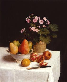Still life with primroses and pears