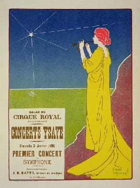 Reproduction of a poster advertising the 'Ysaye Concerts', Salle du Cirque Royal, Brussels