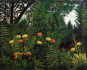 Rousseau, Henri Julien-F�lix : Jungle with tiger and hunt...