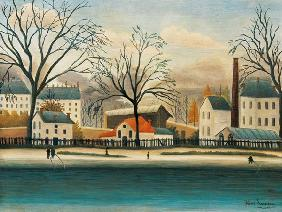 Rousseau, Henri Julien-F�lix : Suburb on the shore of the...