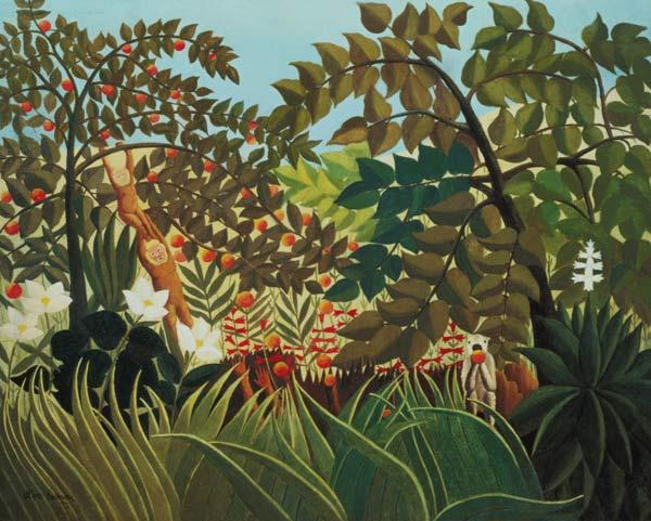 Rousseau, Henri Julien-F�lix : Exotic landscape with play...