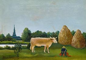 Rousseau, Henri Julien-F�lix : Landscape with cow (or: Vi...