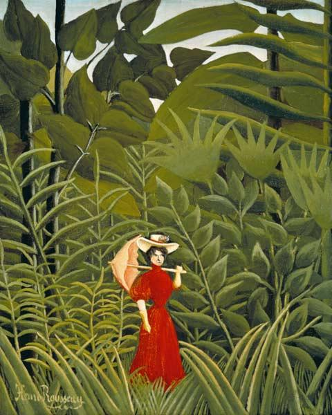 Rousseau, Henri Julien-F�lix : Woman in Red in the Forest