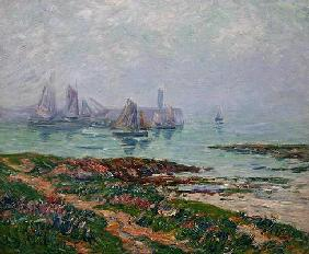 Coastal scene with fishing boats, 1912 (oil on canvas)