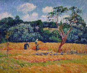 Figures harvesting a wheat field (oil on canvas)