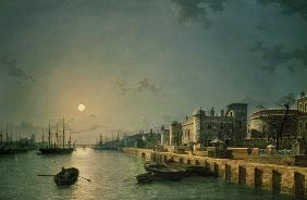 Tower of London and the Thames in moonlight