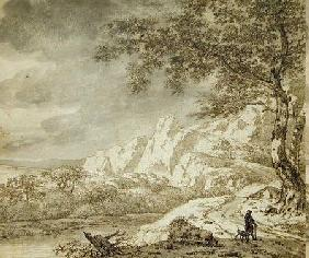 Mountainous Landscape with a Hiker