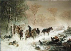 Loading Wood in the Snow 1858