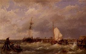 Fishing boats in the storm at a mole