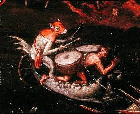 The Inferno, detail of fantastical animals playing the drums on a boat