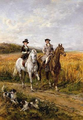 Hardy, Heywood : Couple Riding with Their D...