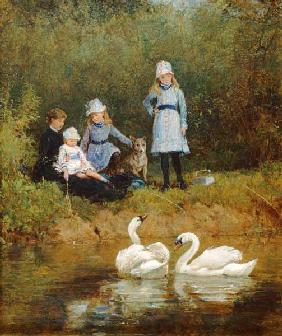 Hardy, Heywood : Watching the Swans