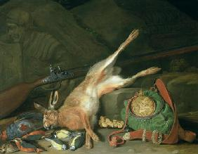 Still Life of a Hare with Hunting Equipment (oil on canvas) (for pair see 93439)