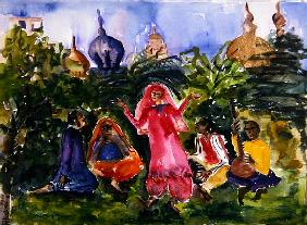 Indian Dancers, 2004 (w/c on paper)