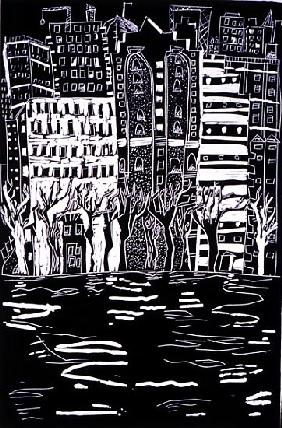Thames in Winter, 1999 (lino)