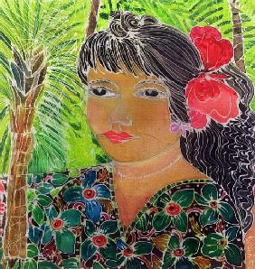 Lady with Hibiscus (coloured inks on silk)