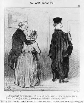 Series ''Les Bons Bourgeois'', Isn''t it marvellous to have a son who is a lawyer, plate 21, illustr