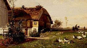 Farm with stork's nest.