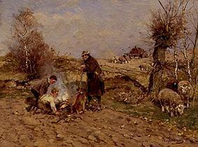 Sheep shepherd at the fire
