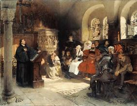 Luther Preaches using his Bible Translation while Imprisoned at Wartburg