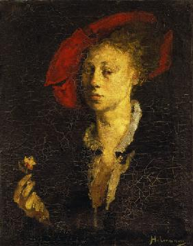 Lady with a red cap and pink