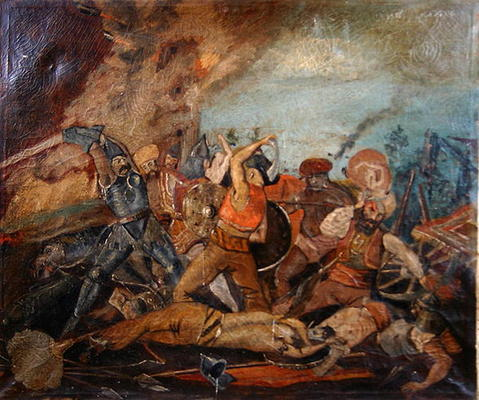 Ottoman And Hungarian Soldiers Fighting Hungarian School