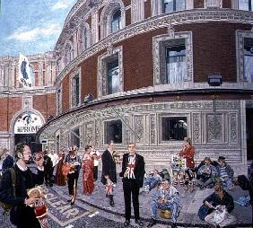 Promenaders at The Last Night, Royal Albert Hall, detail (oil on canvas)