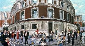 Promenaders at The Last Night, Royal Albert Hall (oil on canvas)