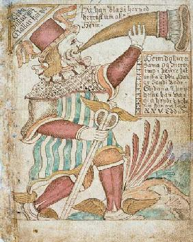 Heimdal Blowing his Horn before Ragnarok, from 'Melsted's Edda'  &