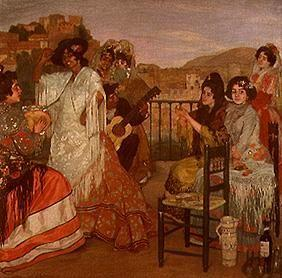 Gipsies on a terrace in Granada.