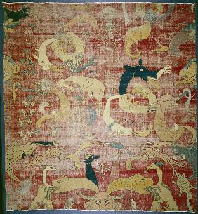 Portion of a carpet with fantastic animals on red ground, Mughal