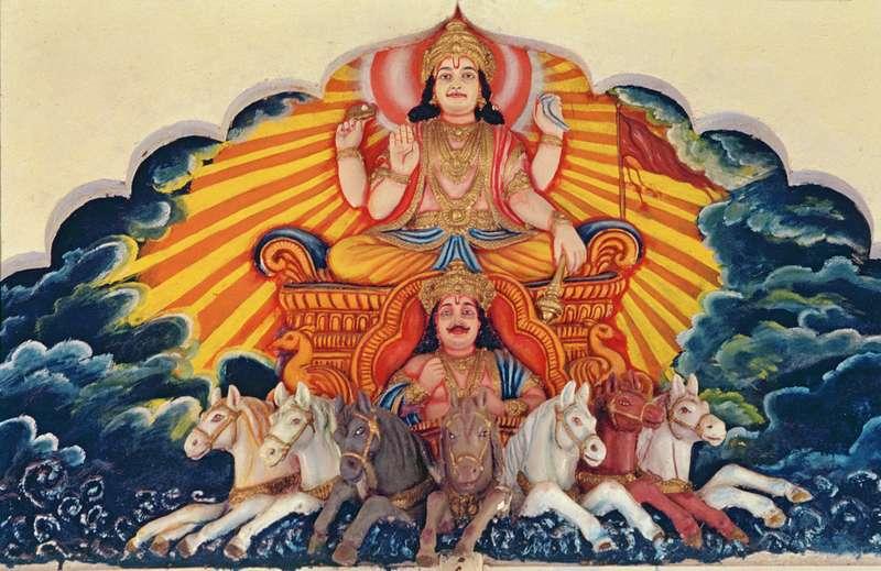 Surya Narayan The Sun God Painted Reli Indian School