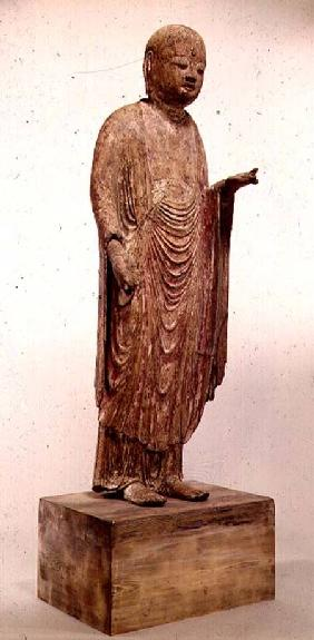 Carved wooden statue of Jizo (Japanese god) of the Heian period