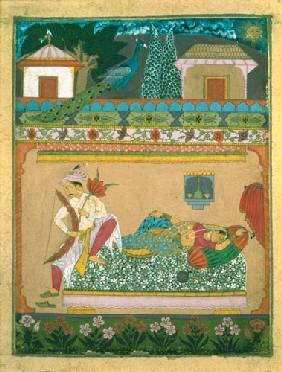 Lovers at Daybreak, illustration of the musical mode 'Raga Vibhasa', Northern Deccan or Southern Raj