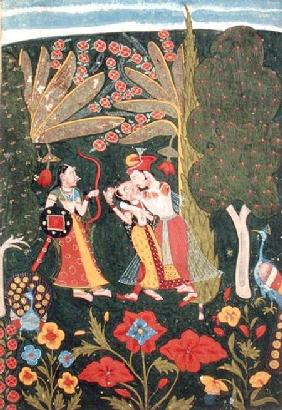 Lovers Embracing in a Forest, Bundi