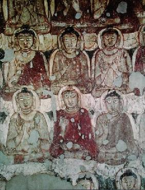 A Multitude of Seated Buddhas, detail, from the interior of Cave 2